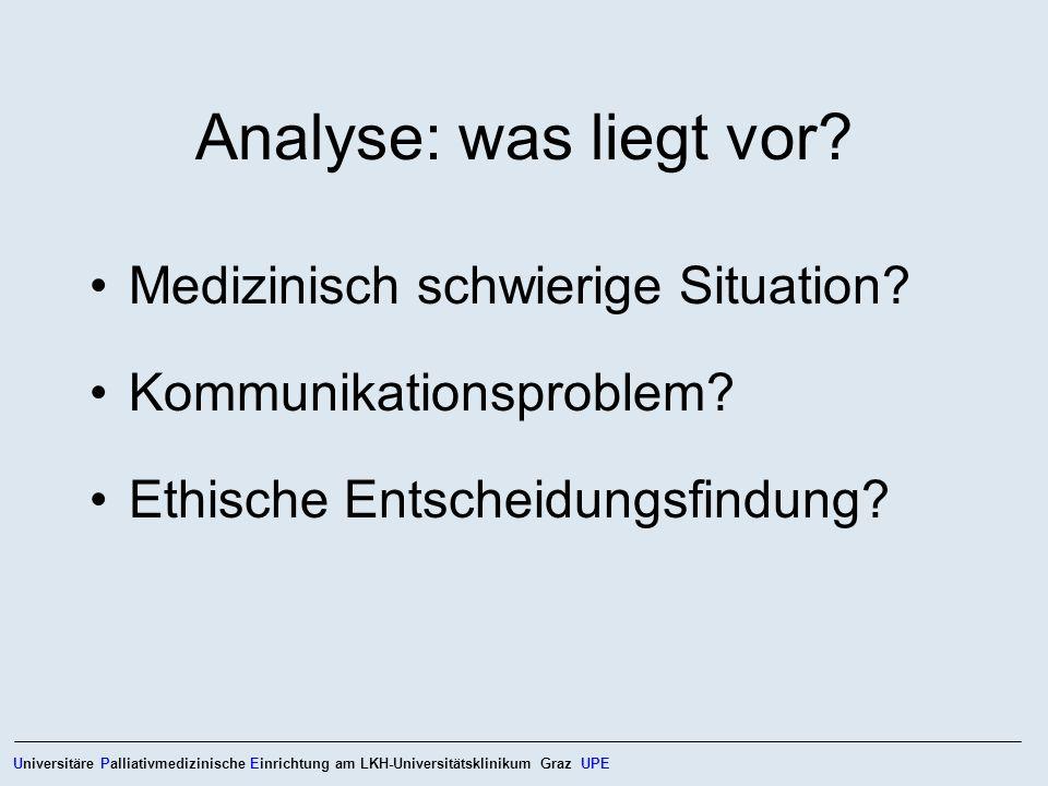 Analyse: was liegt vor? Medizinisch schwierige Situation? Kommunikationsproblem? Ethische Entscheidungsfindung? Universitäre Palliativmedizinische Ein