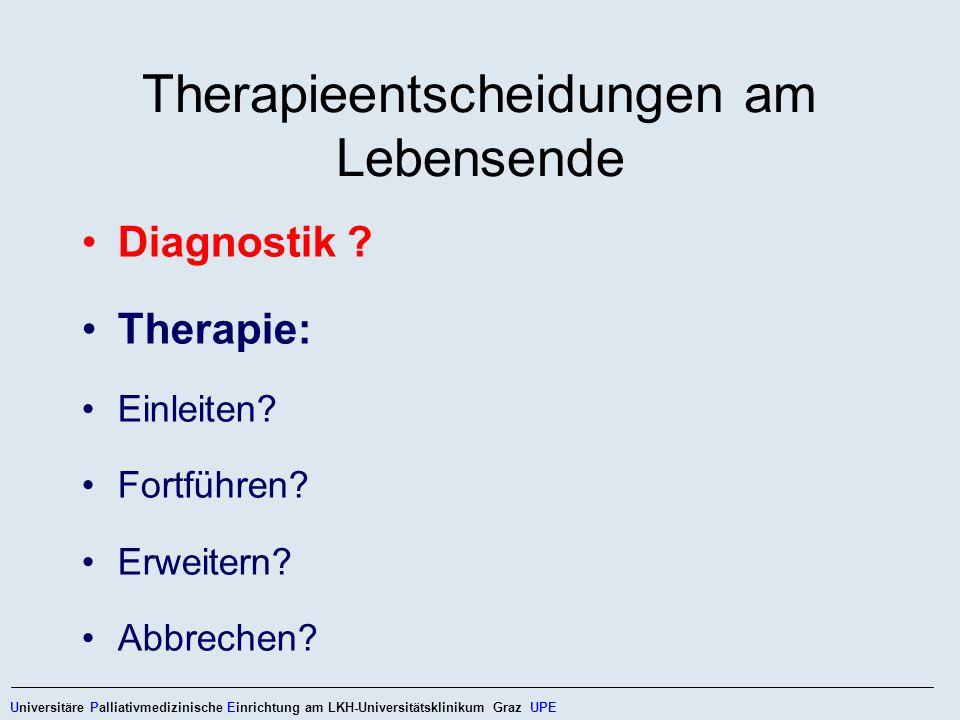 Therapieentscheidungen am Lebensende Diagnostik ? Therapie: Einleiten? Fortführen? Erweitern? Abbrechen? Universitäre Palliativmedizinische Einrichtun
