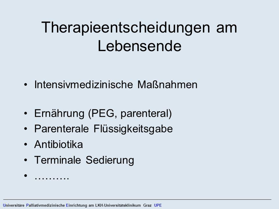 Therapieentscheidungen am Lebensende Intensivmedizinische Maßnahmen Ernährung (PEG, parenteral) Parenterale Flüssigkeitsgabe Antibiotika Terminale Sed