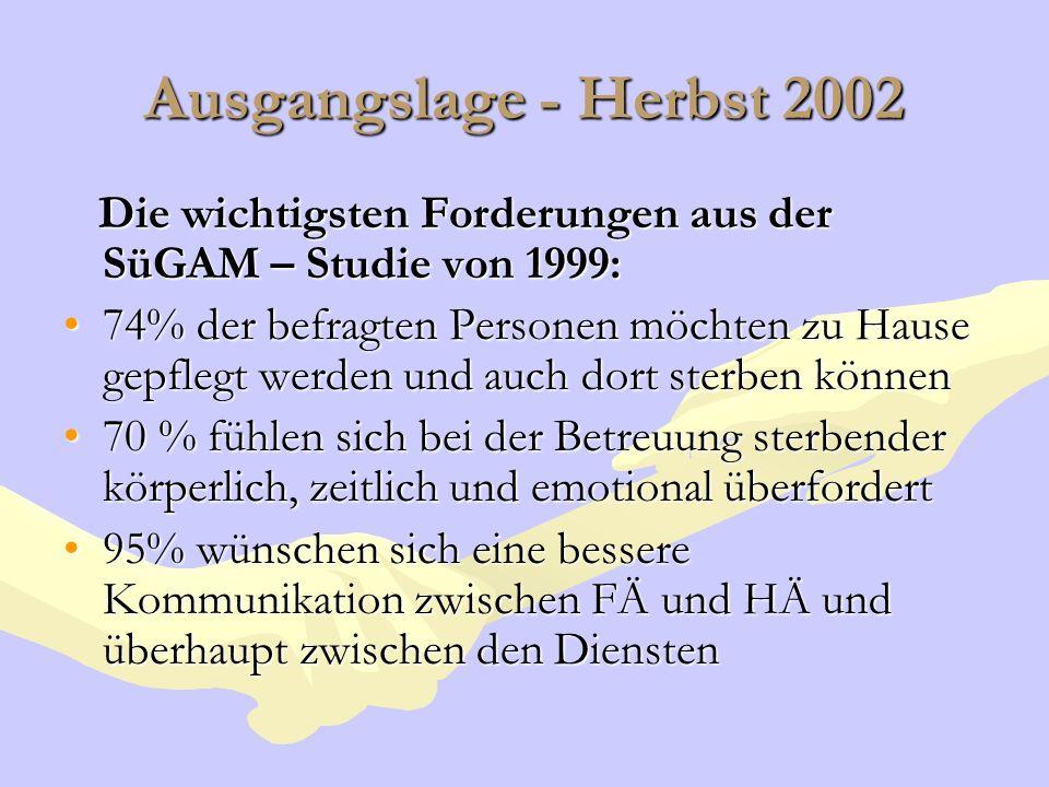 Ausgangslage - Herbst 2002 Die wichtigsten Forderungen aus der SüGAM – Studie von 1999: Die wichtigsten Forderungen aus der SüGAM – Studie von 1999: 7