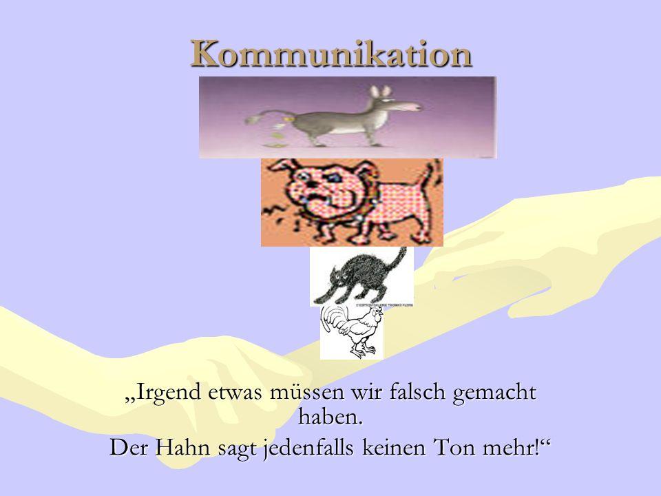 Kommunikation Irgend etwas müssen wir falsch gemacht haben. Der Hahn sagt jedenfalls keinen Ton mehr!