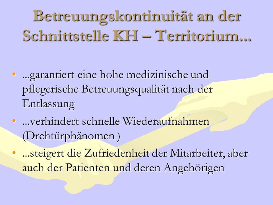 Betreuungskontinuität an der Schnittstelle KH – Territorium......garantiert eine hohe medizinische und pflegerische Betreuungsqualität nach der Entlas