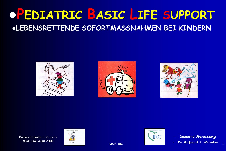 MUP - IRC1 Das A B C A – Atemwege (Airway) B - Atmung (Breathing) C – Kreislauf (Circulation) Die Techniken variieren je nach Alter des Kindes