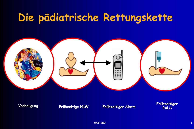 MUP - IRC1 Die pädiatrische Rettungskette Frühzeitige HLWFrühzeitiger Alarm Frühzeitiger PALS Vorbeugung