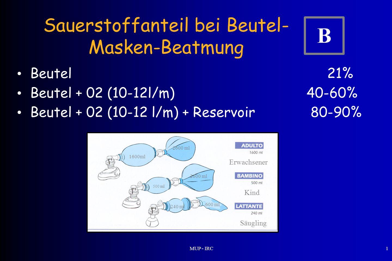 MUP - IRC1 Sauerstoffanteil bei Beutel- Masken-Beatmung Beutel 21% Beutel + 02 (10-12l/m) 40-60% Beutel + 02 (10-12 l/m) + Reservoir 80-90% 1600ml 500