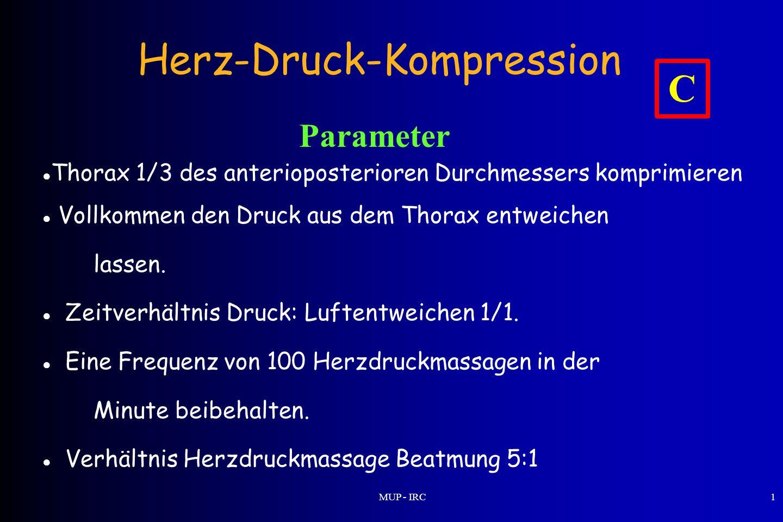 MUP - IRC1 Herz-Druck-Kompression Parameter Thorax 1/3 des anterioposterioren Durchmessers komprimieren Vollkommen den Druck aus dem Thorax entweichen