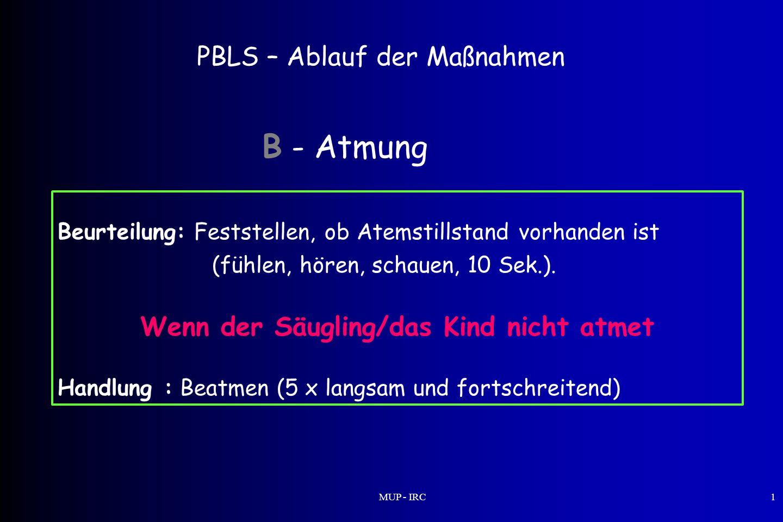 MUP - IRC1 PBLS – Ablauf der Maßnahmen Beurteilung: Feststellen, ob Atemstillstand vorhanden ist (fühlen, hören, schauen, 10 Sek.). Wenn der Säugling/