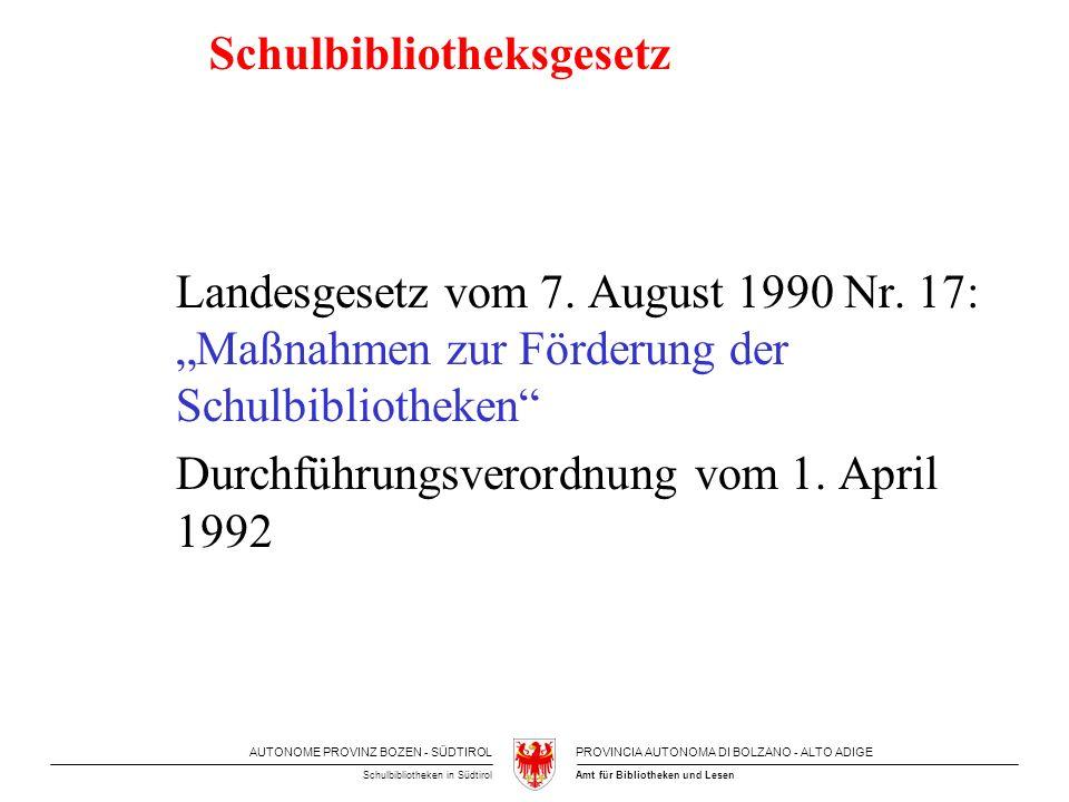AUTONOME PROVINZ BOZEN - SÜDTIROLPROVINCIA AUTONOMA DI BOLZANO - ALTO ADIGE Amt für Bibliotheken und LesenSchulbibliotheken in Südtirol Schulbibliotheksgesetz Landesgesetz vom 7.