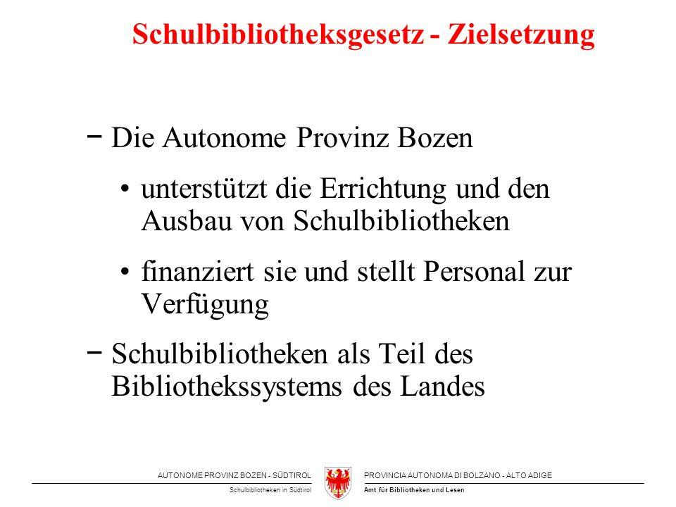 AUTONOME PROVINZ BOZEN - SÜDTIROLPROVINCIA AUTONOMA DI BOLZANO - ALTO ADIGE Amt für Bibliotheken und LesenSchulbibliotheken in Südtirol Schulbibliotheksgesetz - Zielsetzung Die Autonome Provinz Bozen unterstützt die Errichtung und den Ausbau von Schulbibliotheken finanziert sie und stellt Personal zur Verfügung Schulbibliotheken als Teil des Bibliothekssystems des Landes