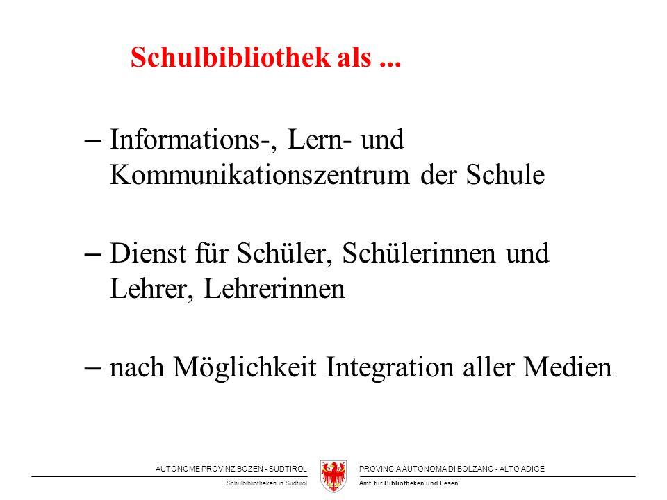 AUTONOME PROVINZ BOZEN - SÜDTIROLPROVINCIA AUTONOMA DI BOLZANO - ALTO ADIGE Amt für Bibliotheken und LesenSchulbibliotheken in Südtirol Standards für Schulbibliotheken - Mindestbestand von 10 ME / Schüler & Lehrer - Qualität und Aktualität des Medienbestandes - gezielter Bestandsaufbau - benutzerorientierte Präsentation - Erschließung der Bestände dient zur überlegten unterrichtsbezogenen Nutzung