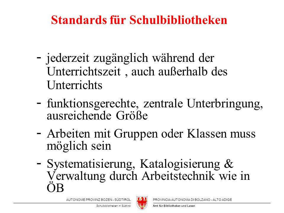 AUTONOME PROVINZ BOZEN - SÜDTIROLPROVINCIA AUTONOMA DI BOLZANO - ALTO ADIGE Amt für Bibliotheken und LesenSchulbibliotheken in Südtirol Standards für