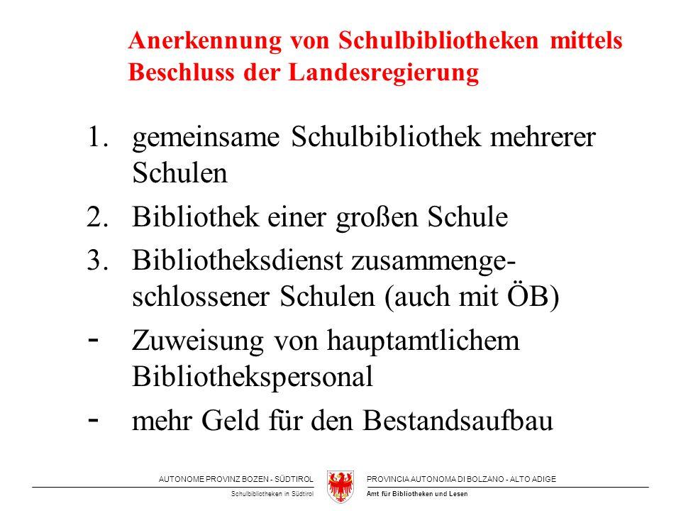 AUTONOME PROVINZ BOZEN - SÜDTIROLPROVINCIA AUTONOMA DI BOLZANO - ALTO ADIGE Amt für Bibliotheken und LesenSchulbibliotheken in Südtirol Anerkennung vo