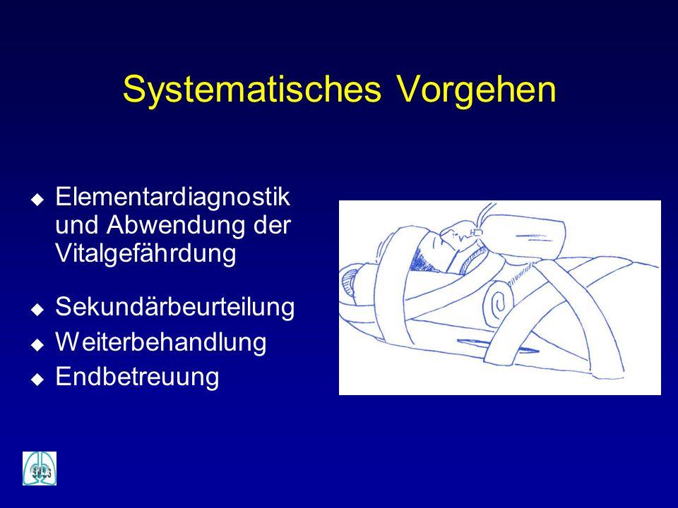 Elementardiagnostik + Abwendung der Vitalgefährdung A - Airway Atemwege, Stabilisierung der WS B - Breathing Atmung, Oxygenierung, Beatmung, Pneumothorax-Kontrolle C - Circulation Kreislauf und Blutstillung D - Disability Neurologischer Status, Bewußtseinszustand, Pupillen E - Exposure Entkleiden und Unfallhergang