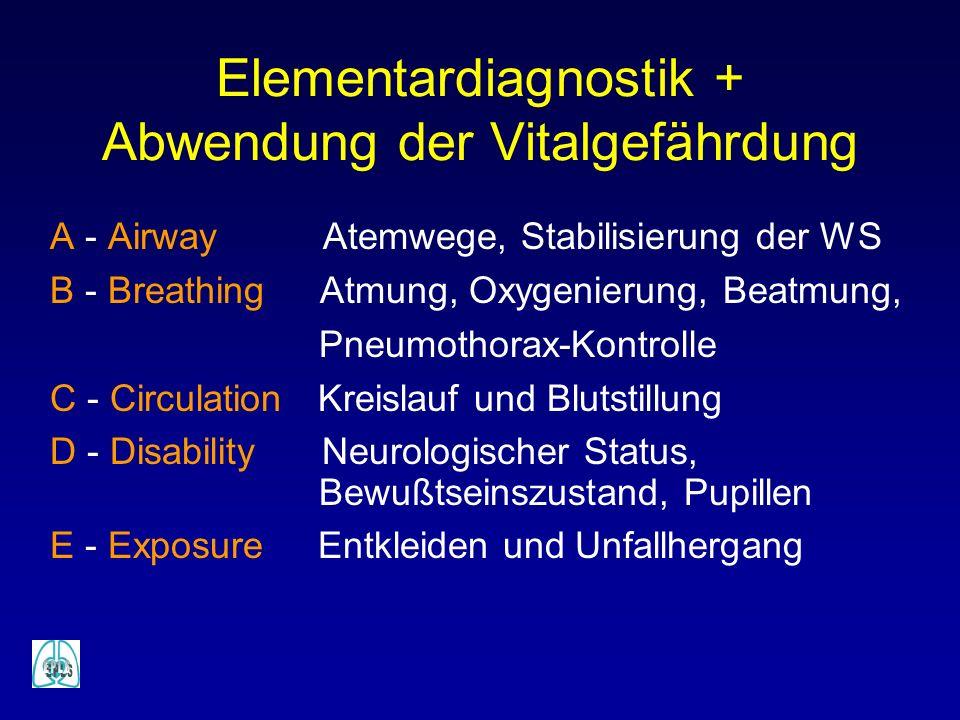Elementardiagnostik + Abwendung der Vitalgefährdung A - Airway Atemwege, Stabilisierung der WS B - Breathing Atmung, Oxygenierung, Beatmung, Pneumotho