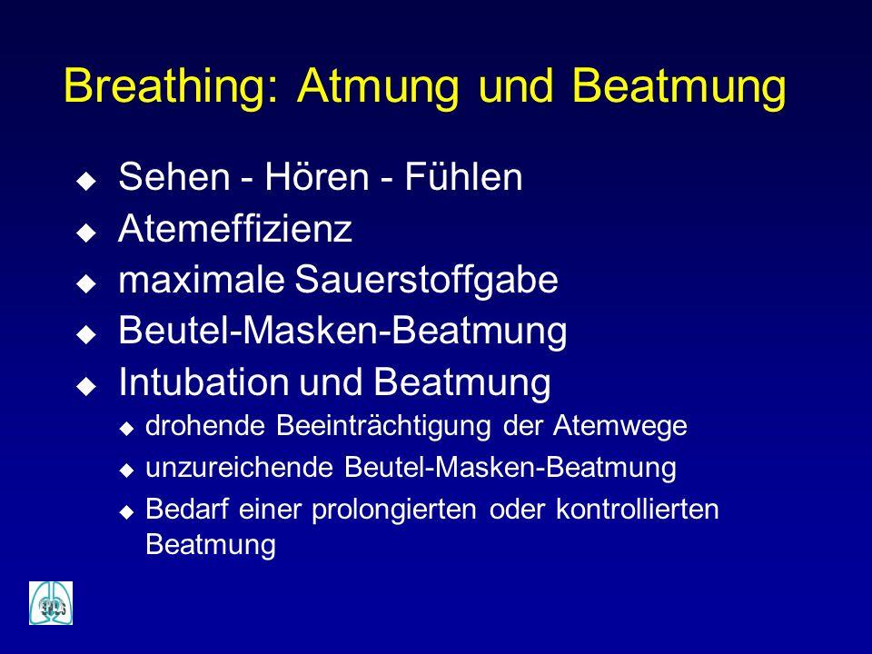 Breathing: Atmung und Beatmung u Sehen - Hören - Fühlen u Atemeffizienz u maximale Sauerstoffgabe u Beutel-Masken-Beatmung u Intubation und Beatmung u