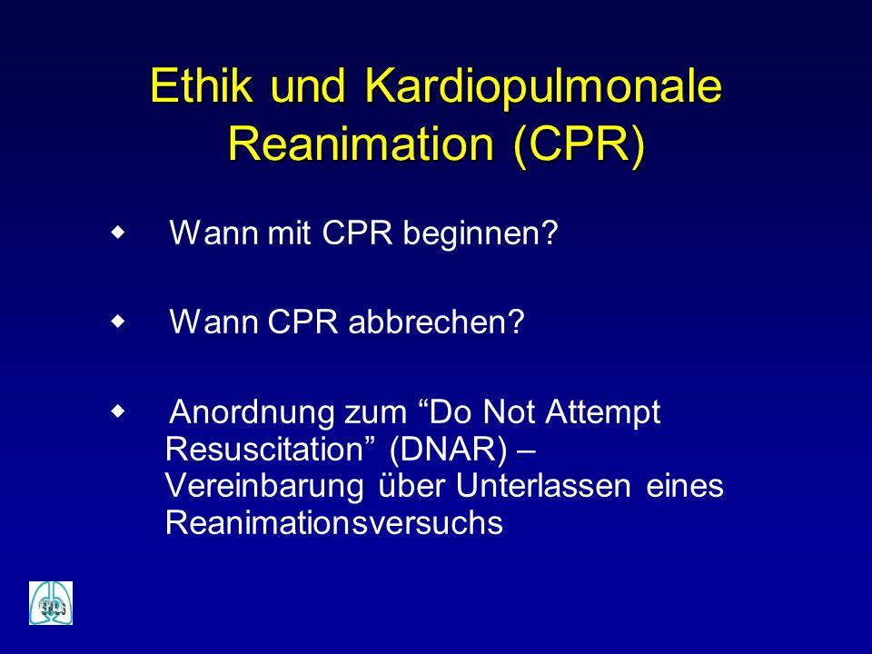 Ethik und Kardiopulmonale Reanimation (CPR) Wann mit CPR beginnen? Wann CPR abbrechen? Anordnung zum Do Not Attempt Resuscitation (DNAR) – Vereinbarun