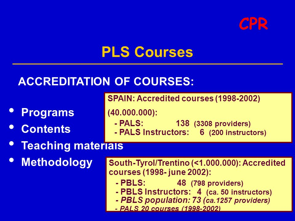 PLS Courses CPR ACCREDITATION OF COURSES: Programs Contents Teaching materials Methodology SPAIN: Accredited courses (1998-2002) (40.000.000): - PALS: