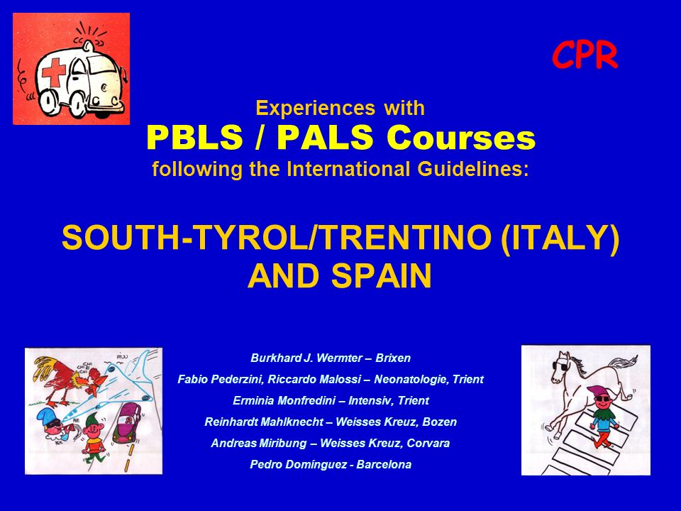 PLS Courses CPR ACCREDITATION OF COURSES: Programs Contents Teaching materials Methodology SPAIN: Accredited courses (1998-2002) (40.000.000): - PALS: 138 (3308 providers) - PALS Instructors: 6 (200 instructors) South-Tyrol/Trentino (<1.000.000): Accredited courses (1998- june 2002): - PBLS: 48 (798 providers) - PBLS Instructors: 4 (ca.