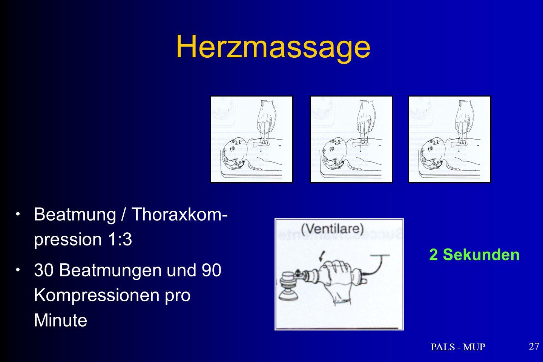 PALS - MUP 27 Herzmassage Beatmung / Thoraxkom- pression 1:3 30 Beatmungen und 90 Kompressionen pro Minute 2 Sekunden