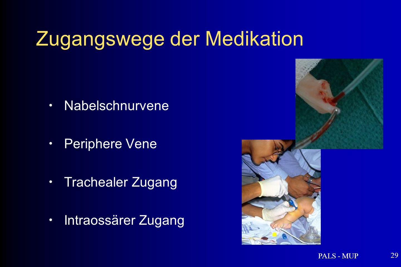 PALS - MUP 29 Nabelschnurvene Periphere Vene Trachealer Zugang Intraossärer Zugang Z Zugangswege der Medikation