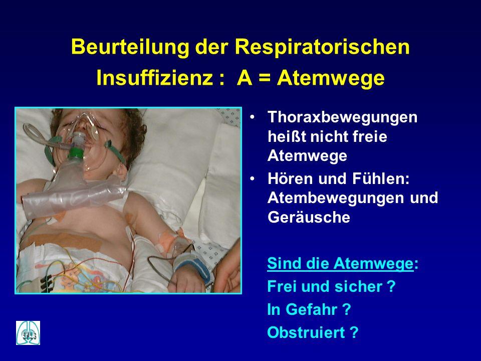 Beurteilung der Respiratorischen Insuffizienz : A = Atemwege Thoraxbewegungen heißt nicht freie Atemwege Hören und Fühlen: Atembewegungen und Geräusch