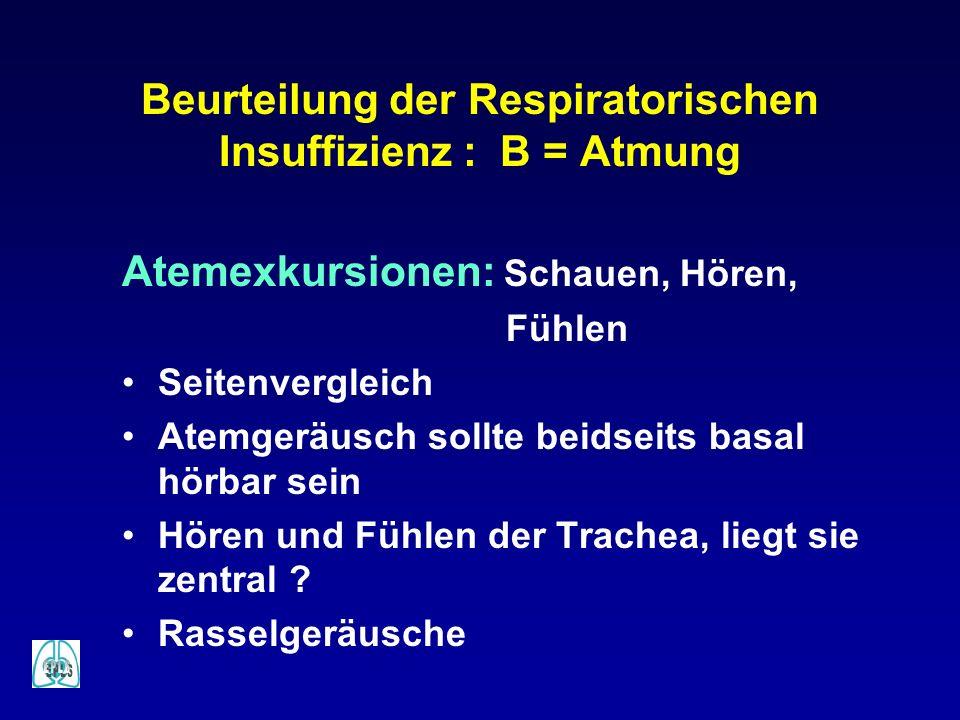 Beurteilung der Respiratorischen Insuffizienz : B = Atmung Atemexkursionen: Schauen, Hören, Fühlen Seitenvergleich Atemgeräusch sollte beidseits basal