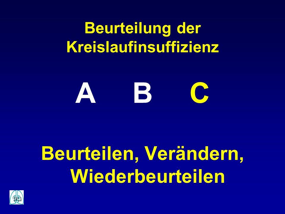 Beurteilung der Kreislaufinsuffizienz ABC Beurteilen, Verändern, Wiederbeurteilen