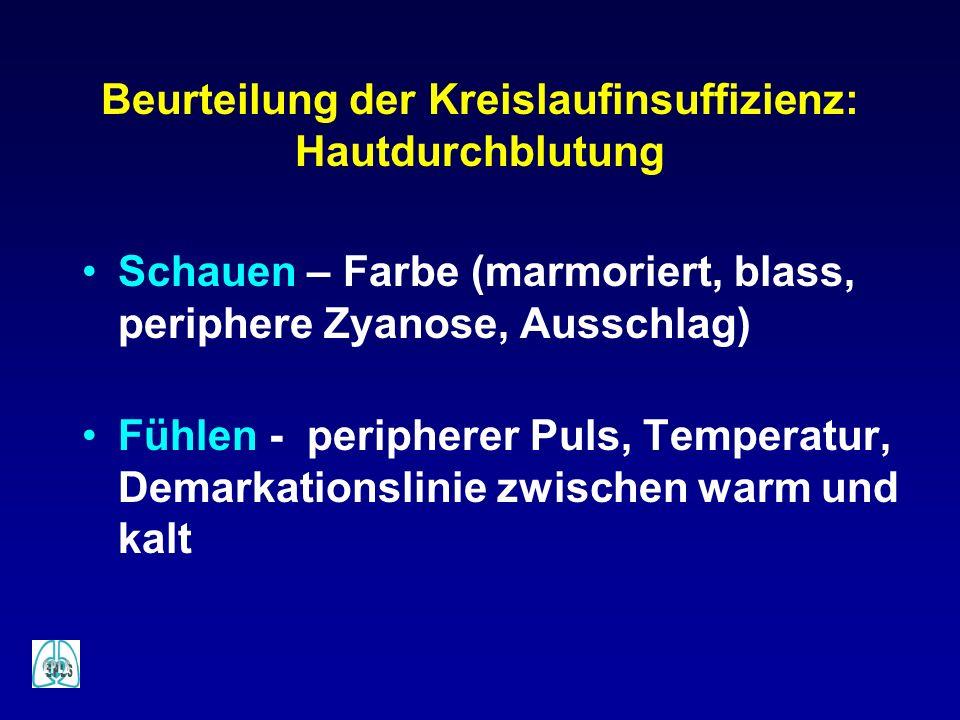 Beurteilung der Kreislaufinsuffizienz: Hautdurchblutung Schauen – Farbe (marmoriert, blass, periphere Zyanose, Ausschlag) Fühlen - peripherer Puls, Te