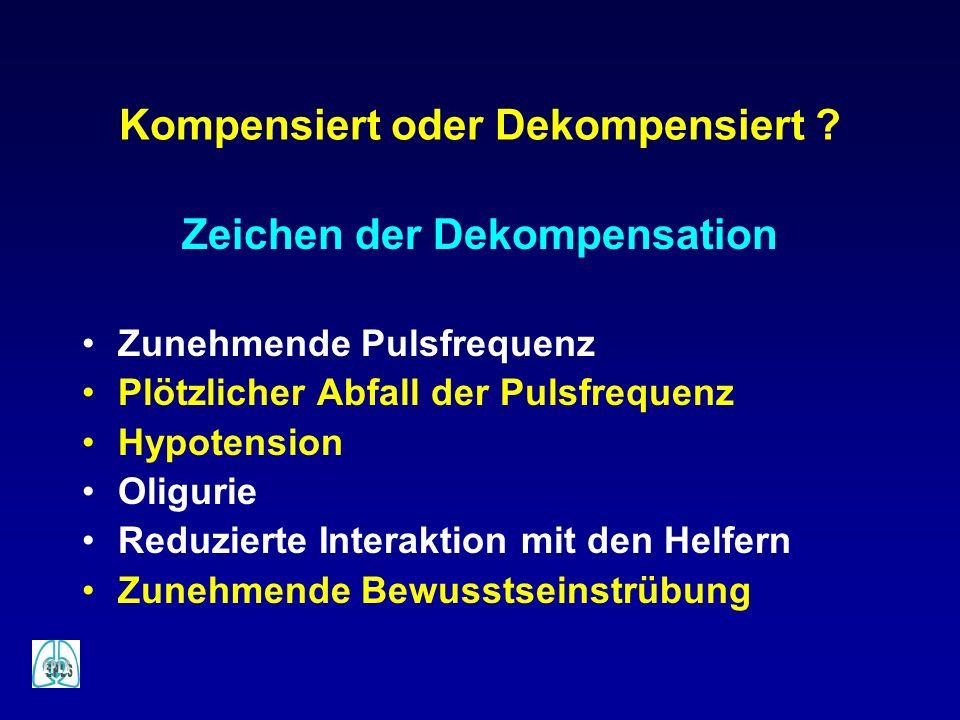 Kompensiert oder Dekompensiert ? Zeichen der Dekompensation Zunehmende Pulsfrequenz Plötzlicher Abfall der Pulsfrequenz Hypotension Oligurie Reduziert