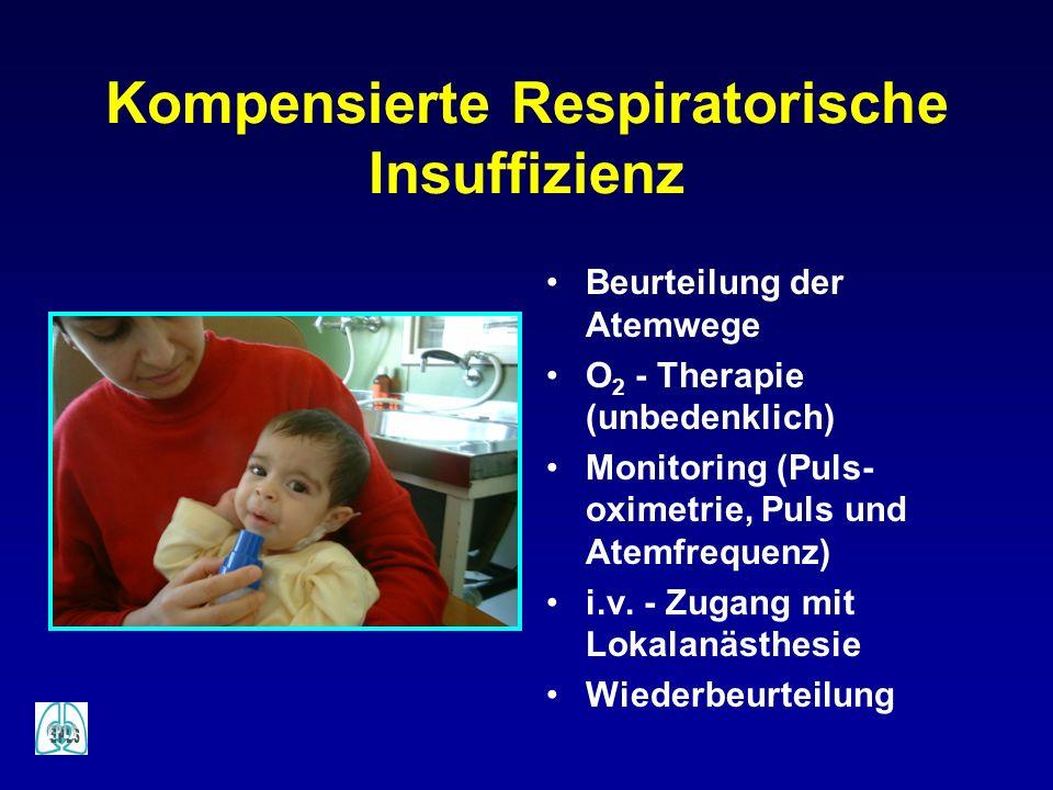 Kompensierte Respiratorische Insuffizienz Beurteilung der Atemwege O 2 - Therapie (unbedenklich) Monitoring (Puls- oximetrie, Puls und Atemfrequenz) i