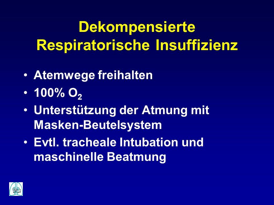 Dekompensierte Respiratorische Insuffizienz Atemwege freihalten 100% O 2 Unterstützung der Atmung mit Masken-Beutelsystem Evtl. tracheale Intubation u