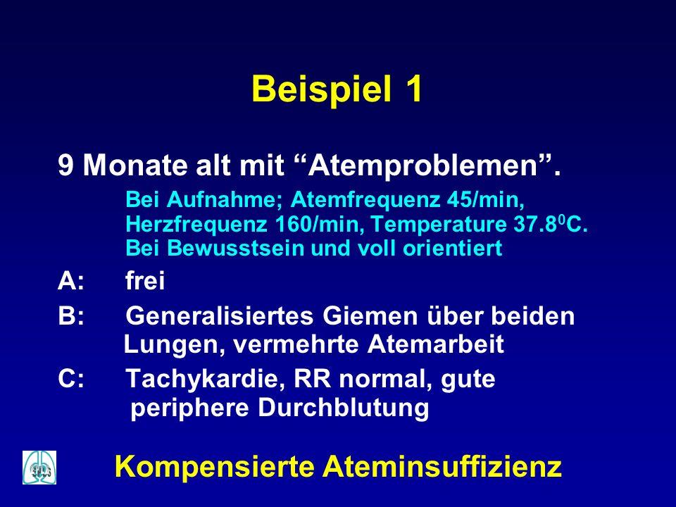 Beispiel 1 9 Monate alt mit Atemproblemen. Bei Aufnahme; Atemfrequenz 45/min, Herzfrequenz 160/min, Temperature 37.8 0 C. Bei Bewusstsein und voll ori