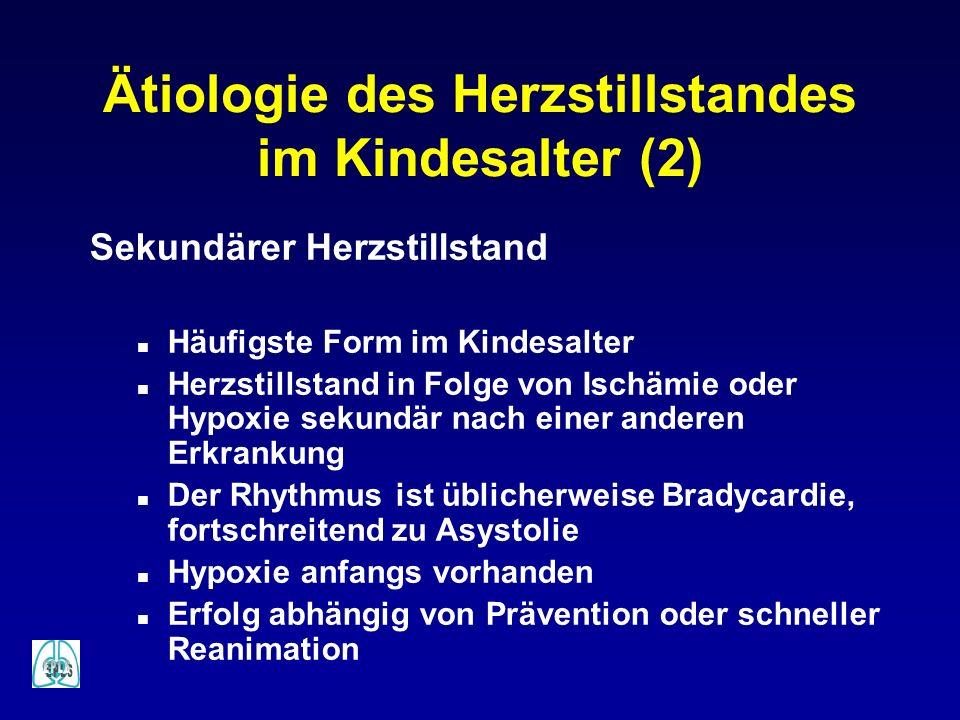 Ätiologie des Herzstillstandes im Kindesalter (2) Sekundärer Herzstillstand n Häufigste Form im Kindesalter n Herzstillstand in Folge von Ischämie ode