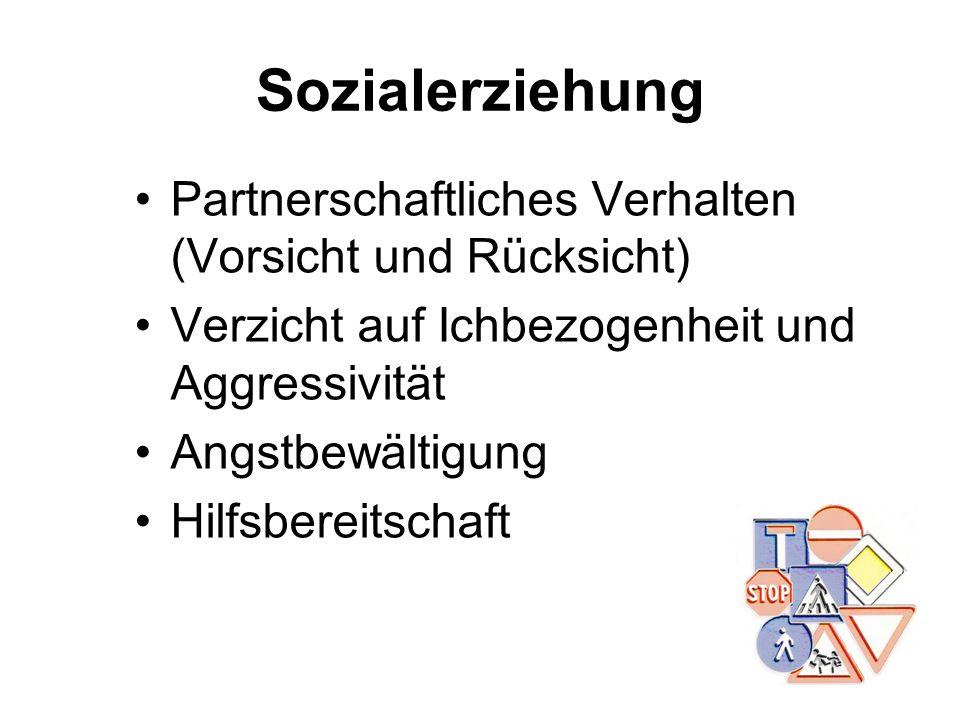 Sozialerziehung Partnerschaftliches Verhalten (Vorsicht und Rücksicht) Verzicht auf Ichbezogenheit und Aggressivität Angstbewältigung Hilfsbereitschaf