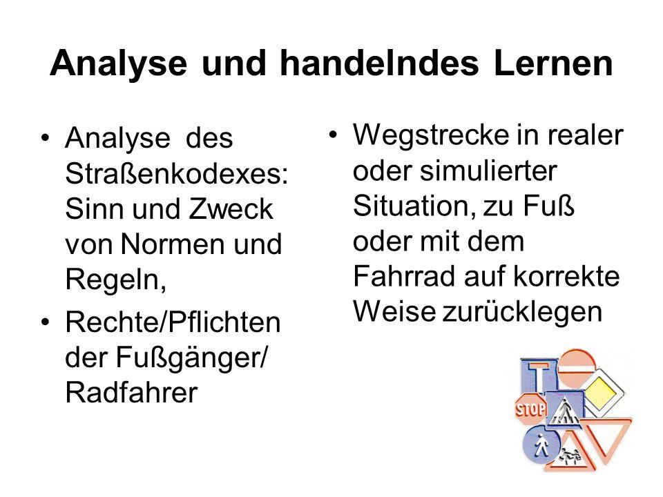 Analyse und handelndes Lernen Analyse des Straßenkodexes: Sinn und Zweck von Normen und Regeln, Rechte/Pflichten der Fußgänger/ Radfahrer Wegstrecke i