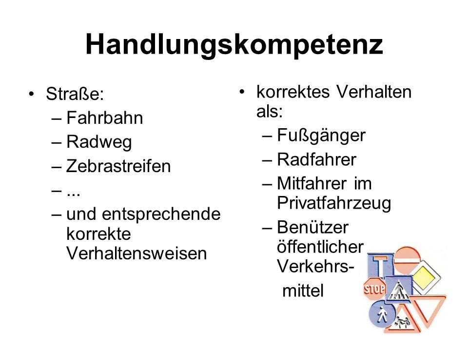 Handlungskompetenz Straße: –Fahrbahn –Radweg –Zebrastreifen –... –und entsprechende korrekte Verhaltensweisen korrektes Verhalten als: –Fußgänger –Rad