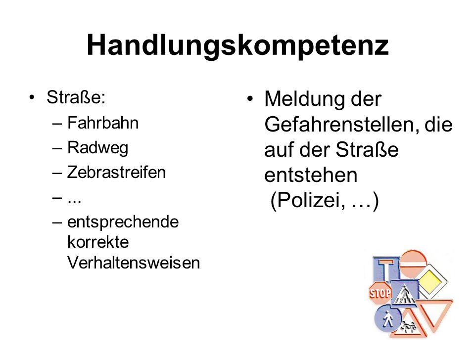 Handlungskompetenz Straße: –Fahrbahn –Radweg –Zebrastreifen –... –entsprechende korrekte Verhaltensweisen Meldung der Gefahrenstellen, die auf der Str
