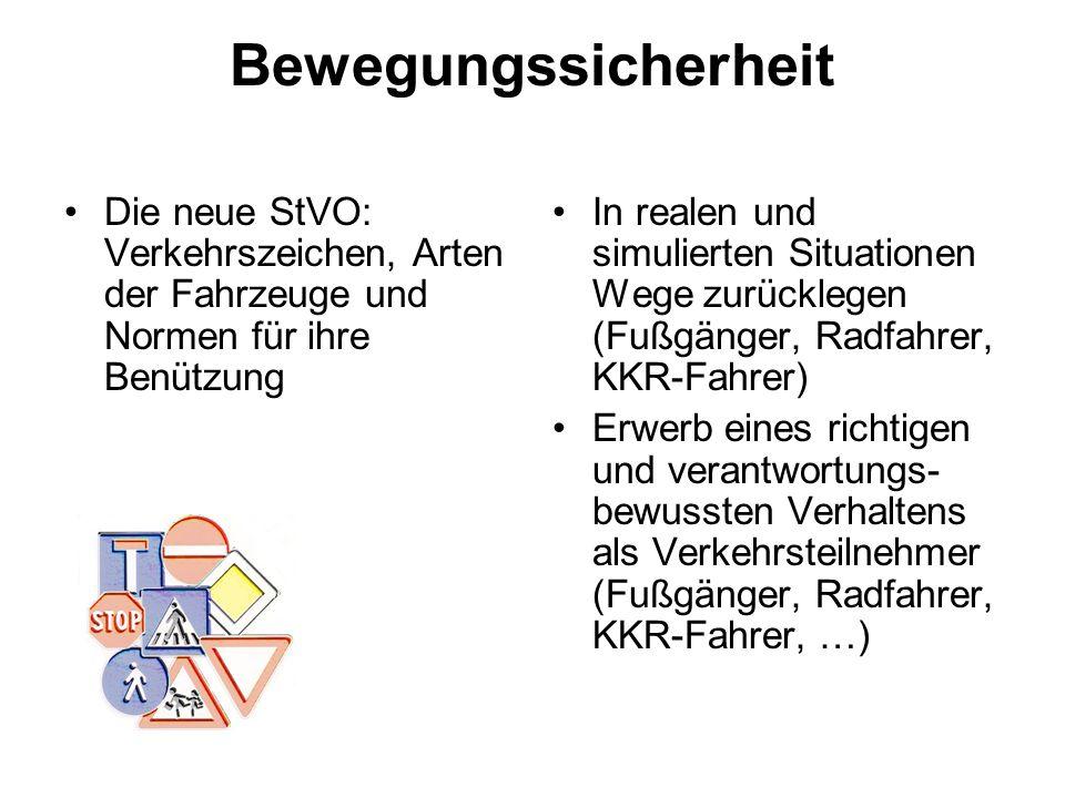 Bewegungssicherheit Die neue StVO: Verkehrszeichen, Arten der Fahrzeuge und Normen für ihre Benützung In realen und simulierten Situationen Wege zurüc