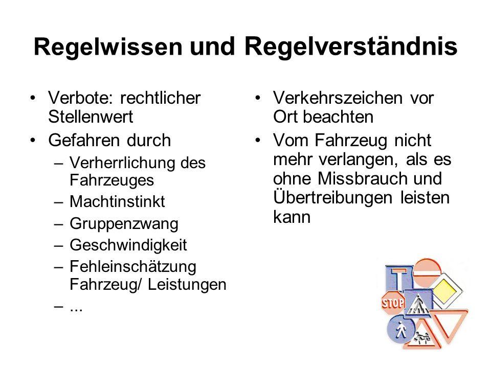 Regelwissen und Regelverständnis Verbote: rechtlicher Stellenwert Gefahren durch –Verherrlichung des Fahrzeuges –Machtinstinkt –Gruppenzwang –Geschwin