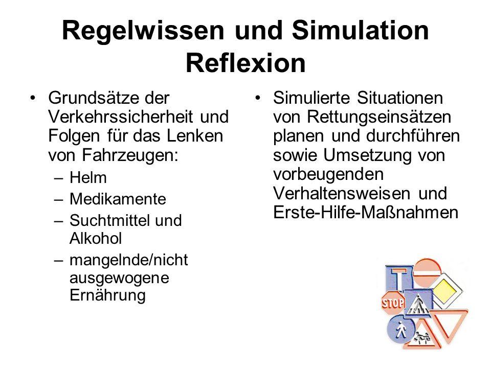 Regelwissen und Simulation Reflexion Grundsätze der Verkehrssicherheit und Folgen für das Lenken von Fahrzeugen: –Helm –Medikamente –Suchtmittel und A
