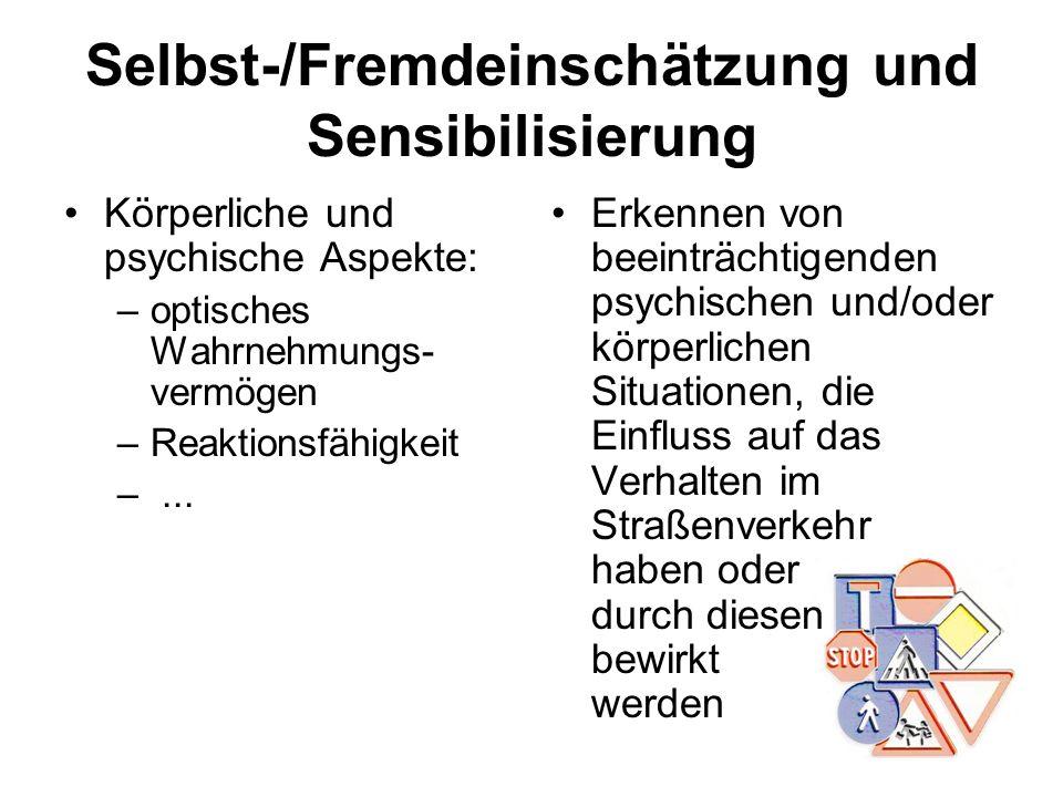 Selbst-/Fremdeinschätzung und Sensibilisierung Körperliche und psychische Aspekte: –optisches Wahrnehmungs- vermögen –Reaktionsfähigkeit –... Erkennen