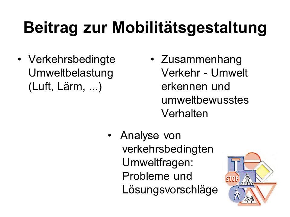 Beitrag zur Mobilitätsgestaltung Verkehrsbedingte Umweltbelastung (Luft, Lärm,...) Zusammenhang Verkehr - Umwelt erkennen und umweltbewusstes Verhalte