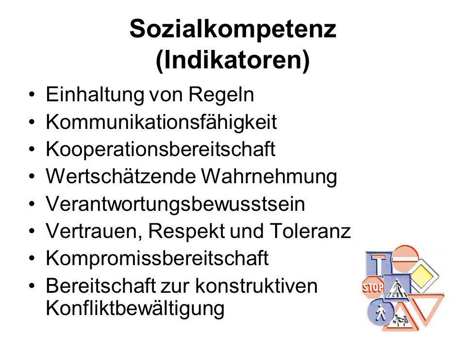 Sozialkompetenz (Indikatoren) Einhaltung von Regeln Kommunikationsfähigkeit Kooperationsbereitschaft Wertschätzende Wahrnehmung Verantwortungsbewussts