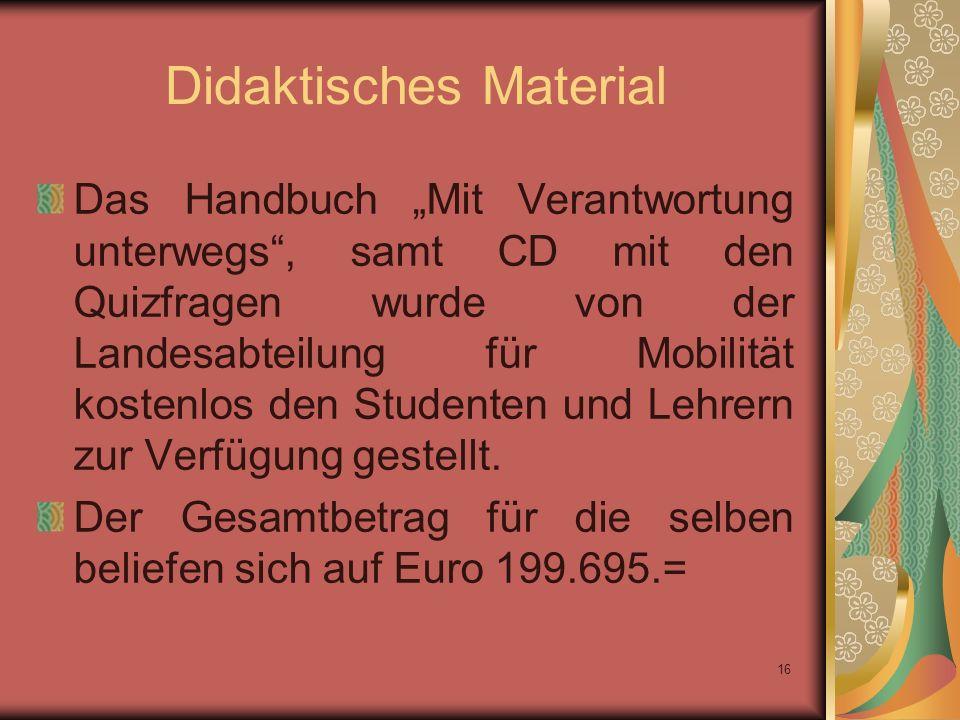 16 Didaktisches Material Das Handbuch Mit Verantwortung unterwegs, samt CD mit den Quizfragen wurde von der Landesabteilung für Mobilität kostenlos den Studenten und Lehrern zur Verfügung gestellt.