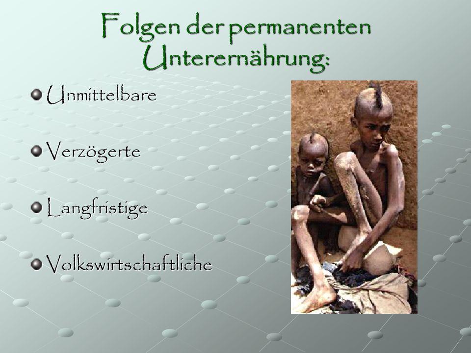 Folgen der permanenten Unterernährung: UnmittelbareVerzögerteLangfristigeVolkswirtschaftliche