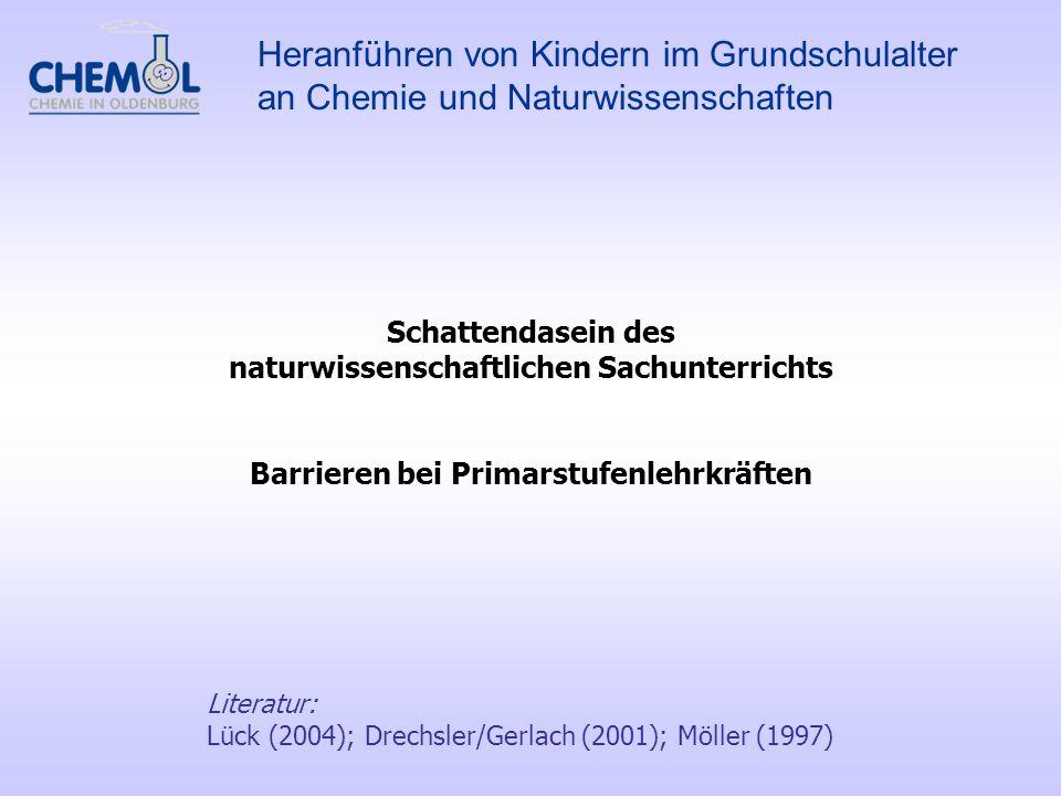 Literatur: Lück (2004); Drechsler/Gerlach (2001); Möller (1997) Schattendasein des naturwissenschaftlichen Sachunterrichts Barrieren bei Primarstufenl