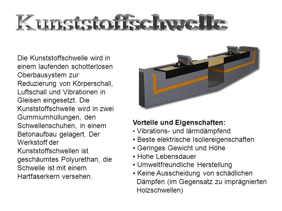 Die Kunststoffschwelle wird in einem laufenden schotterlosen Oberbausystem zur Reduzierung von Körperschall, Luftschall und Vibrationen in Gleisen eingesetzt.