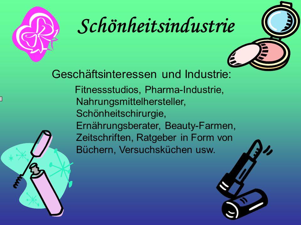 Schönheitsindustrie Geschäftsinteressen und Industrie: Fitnessstudios, Pharma-Industrie, Nahrungsmittelhersteller, Schönheitschirurgie, Ernährungsbera