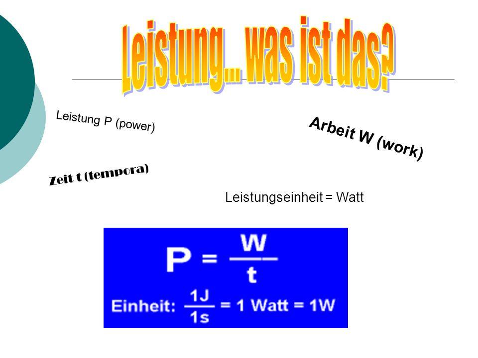Leistungseinheit = Watt L e i s t u n g P ( p o w e r ) A r b e i t W ( w o r k ) Z e i t t ( t e m p o r a )