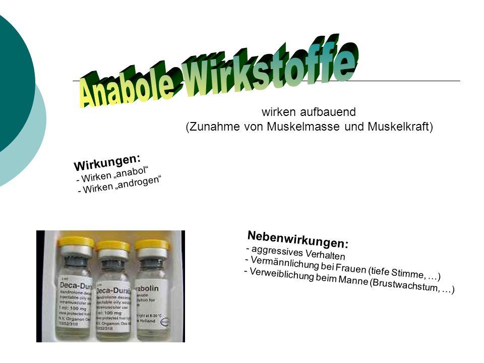 wirken aufbauend (Zunahme von Muskelmasse und Muskelkraft) Wirkungen: - Wirken anabol - Wirken androgen Nebenwirkungen: - aggressives Verhalten - Vermännlichung bei Frauen (tiefe Stimme, …) - Verweiblichung beim Manne (Brustwachstum, …)